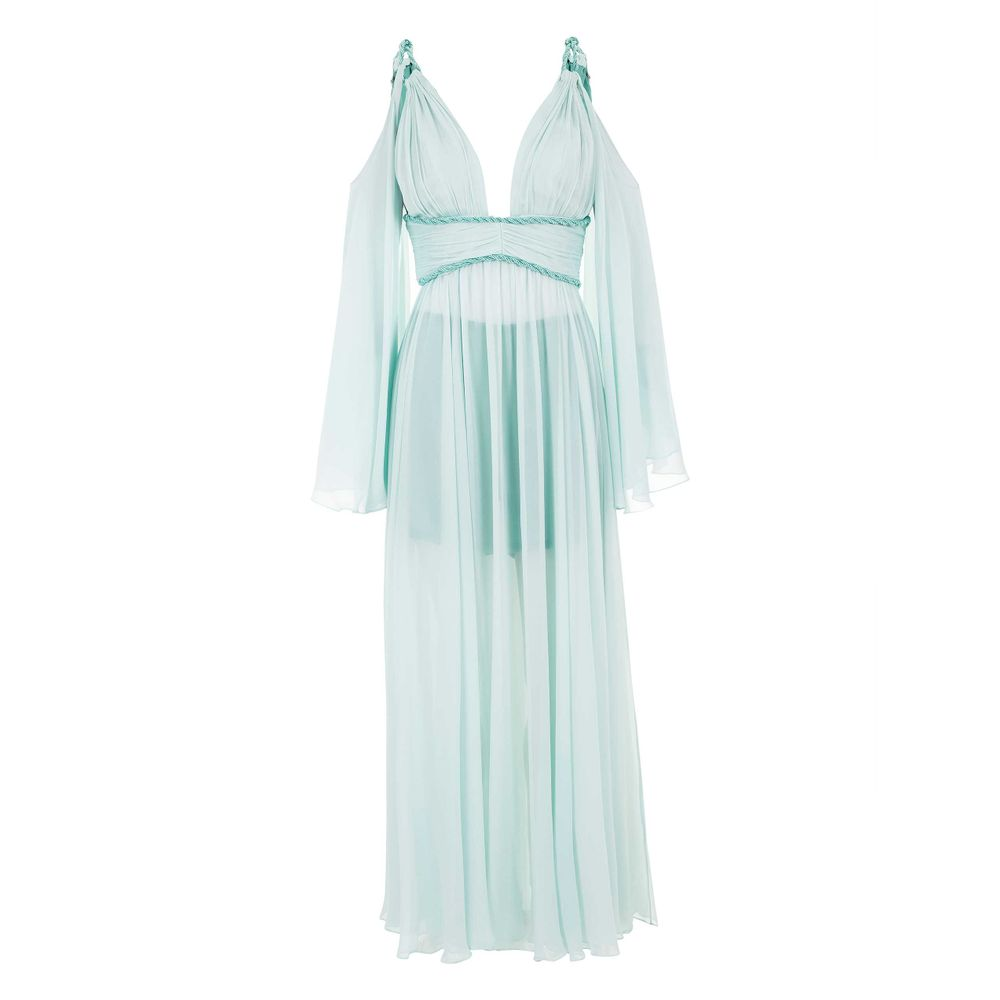9ca9bf6bf Vestido Longo Drapeado de Seda Verde - Shopping Cidade Jardim