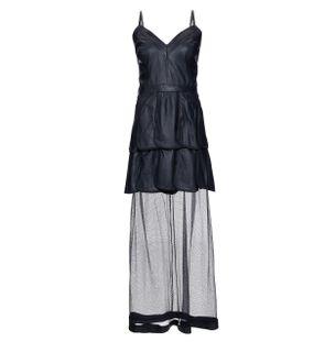 Vestido-Longo-Petalas-Tule-de-Couro-Preto