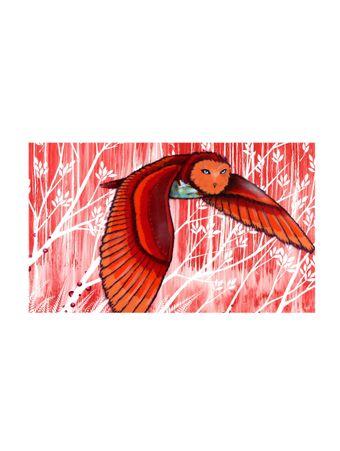 Coruja-Vermelha-Tela-de-Algodao