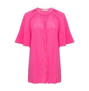 Camisa-Manga-Ampla-de-Seda-Rosa