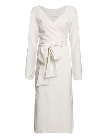 Vestido-Midi-Transpassado-de-Linho-Off-White