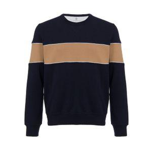 Blusa-manga-longa-azul-marinho-e-marrom
