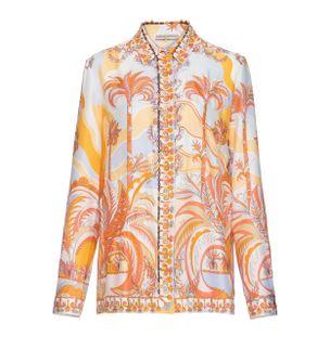 Camisa-Manga-Longa-de-Seda-Estampada-Laranja