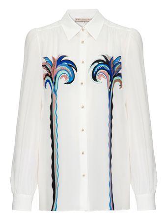 Camisa-de-Seda-Estampada-Branca