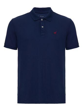 Camisa-Polo-Stretch-de-Algodao-Azul-Marinho