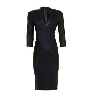 Vestido-Curto-Stretch-de-Couro-com-Chamois-Preto-e-Azul