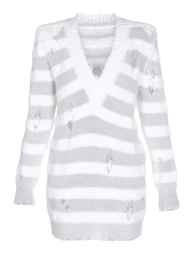 SUETER-OVERSIZED-V-NECK-STRIPED-SWEATER-0FB-WHITE-OPTIQUE