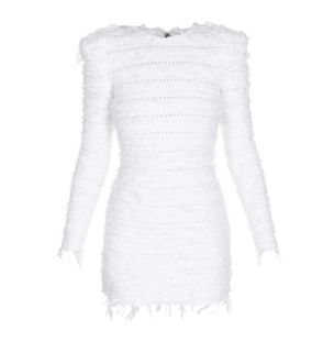 VESTIDO-CURTO-SHORT-LS-FRAYED-TWEED-DRES-0FB-WHITE-OPTIQUE
