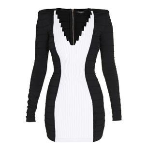 VESTIDO-CURTO-SHORT-LS-V-NECK-KNIT-DRESS-EAB-BLACK-WHITE