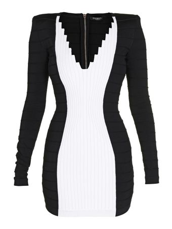 VESTIDO-CURTO-SHORT-LS-V-NECK-KNIT-DRESS-EAB-BLACK-WHITE