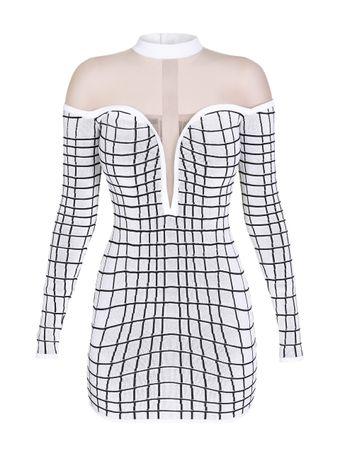 Vestido-Mini-Grid-Effect-Branco