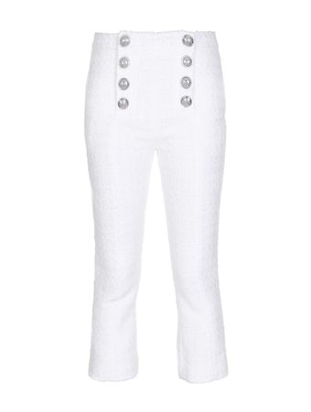CALCA-FLARED-CROPPED-8-BTN-TWEED-PANTS-0FA-WHITE