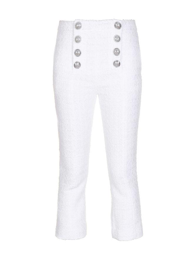 CALCA-FLARED-CROPPED-8-BTN-TWEED-PANTS-0FA-WHITE