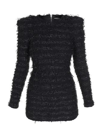 Vestido-Mini-Manga-Longa-Frayed-Tweed-Preto
