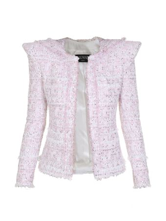 BLAZER-NEW-SHOULDER-COLLARLESS-TWEED-JAC-OAW-PINK-WHITE-SILVER