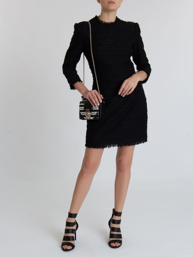 Vestido-Mini-Tweed-de-Algodao-Preto