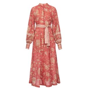 Vestido-Longo-Manga-Bufante-de-Linho-Floral-Vermelho