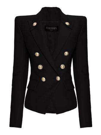 BLAZER-4-BTN-PEAK-LAPEL-COTTON-JACKET-0PA-BLACK