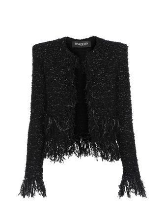 JAQUETA-COLLARLESS-FRINGED-TWEED-JACKET-EAC-BLACKSILVER