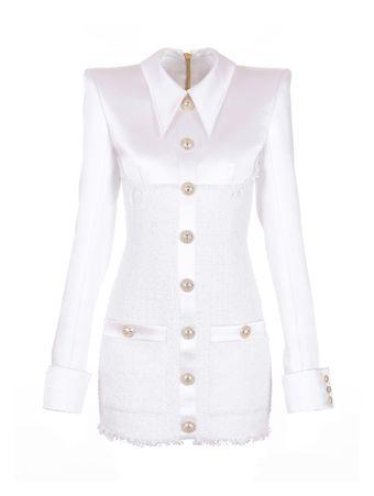 VESTIDO-SHORT-LS-BUTTONED-TWEED-DRESS-0FA-WHITE
