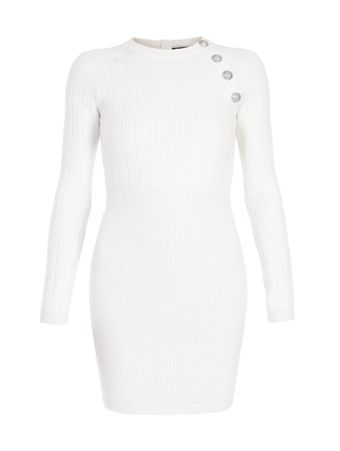 VESTIDO-SHORT-LS-STRETCH-WOOL-DRESS-0FA-WHITE