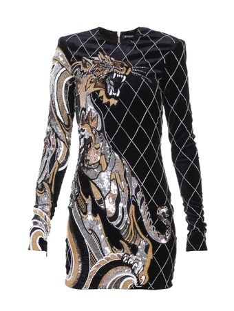 VESTIDO-SHORT-LS-TIGER-EMBROIDERED-DRESS-EAA-MULTIBLACK