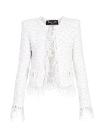 BLAZER-COLLARLESS-FRINGED-TWEED-JACKET-GAC-WHITESILVER