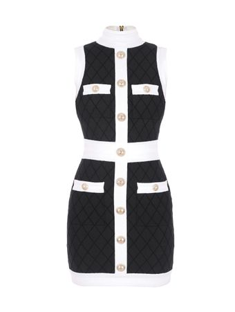 -VESTIDO-SHORT-SLEEVELESS-QUILTED-DRESS-EAB-BLACK-WHITE