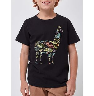 CAMISETA-LHAMA-COLORS-BOYS-PRETO