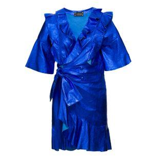 Vestidos-Mini-Metalizado-de-Couro-Azul