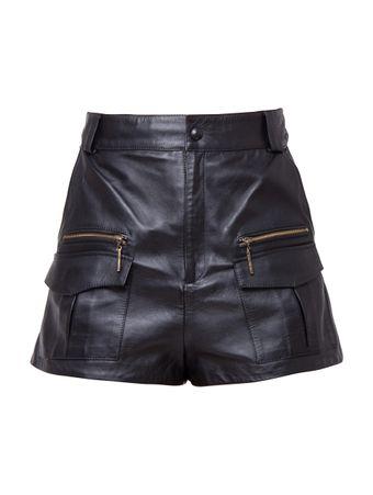 Shorts-Cintura-Alta-de-Couro-Preto