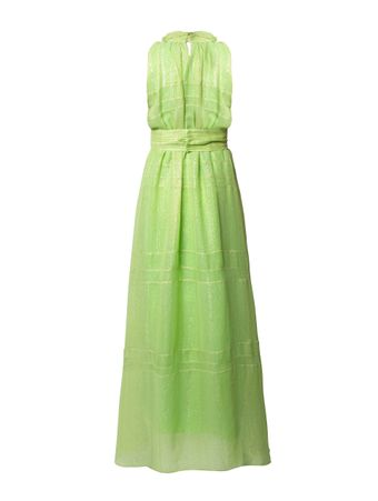 Vestido-Gola-Alta-de-Seda-Verde