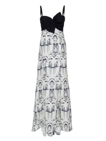 Vestido-Longo-Alcas-Finas-de-Seda-Preto-e-Branco