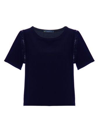Cropped-Manga-Curta-Loures-Azul-Marinho
