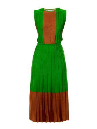Vestido-Plissado-de-Trico-Bicolor