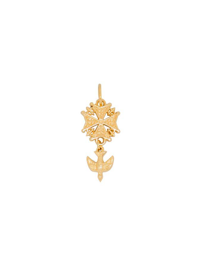 Pingente-Crucifixo-Pomba-de-Ouro