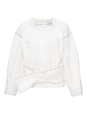 BLUSAO-LS-TWILL-PULLOVER-W-BELT-OFFWHITE
