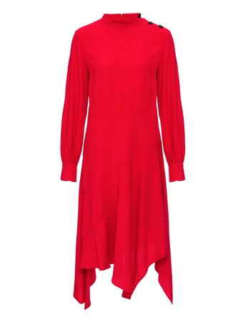 VESTIDO-LS-HIGH-NECK-3-BUTTON-HANDKERCH-TOMATO