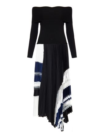 VESTIDO-LS-PLEATED-DRESS-W-RIB-KNIT-TOP-BLKNAVY