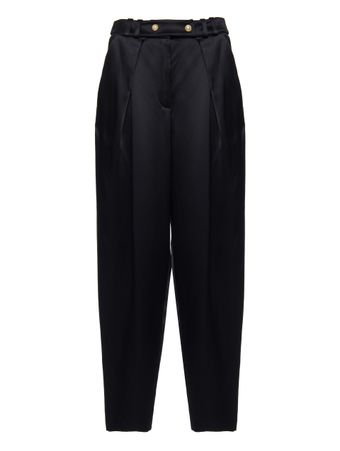 CALCA-HIGH-WAIST-TAPERED-SATIN-PANTS-BLACK