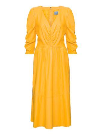 Vestido-Eden-de-Couro-Amarelo