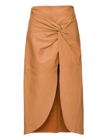 Shorts-Saia-Flor-de-Couro-Marrom