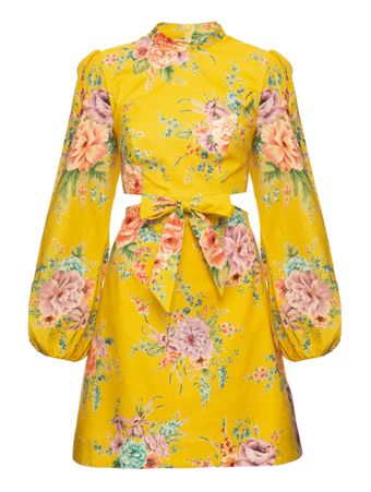 VESTIDO-ZINNIA-BOW-CUT-OUT-SHORT-DRESS-GOLDEN-FLORAL