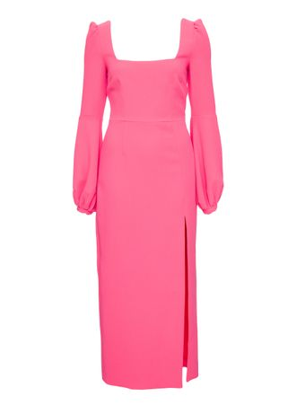VESTIDO-SQUARE-NECK-BALLOON SLEEVE-LONG-ROSE