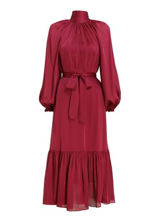 VESTIDO-GATHERED-BOW-LONG-SLEEVE-DRESS-BERRY