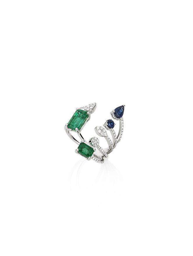 Anel-em-ouro-branco-com-diamante-safira-e-esmeralda