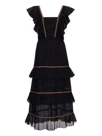 RUFFLE-MID-DRESS-PRETO