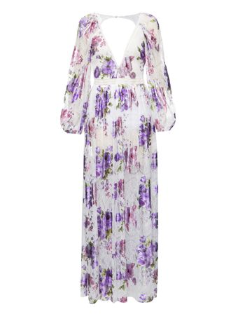 VESTIDO-WILDFLOW ER-FOIL LACE-MAXI DRESS-LAVENDER-M