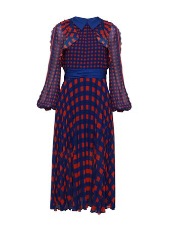 VESTIDO-GINGHAM-PRINTED-CHIFFON-DRESS-BLUE-ORANGE