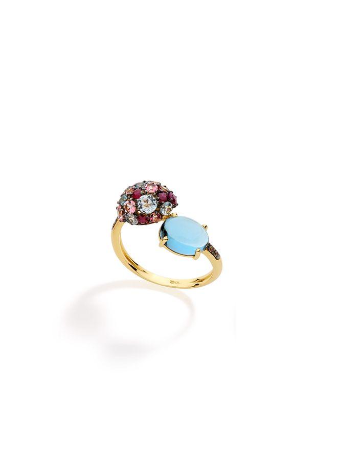Anel-Bubbles-de-Ouro-com-Diamante-Brown-Topazio-e-Rubi